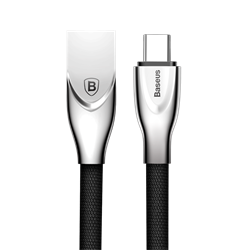 Кабель Baseus Zinc Fabric Cloth Weaving Cable USB For Type-C 2A 1M , Черный (CATXN-01) - фото 10367