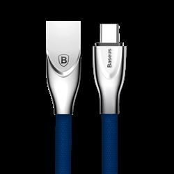 Кабель Baseus Zinc Fabric Cloth Weaving Cable USB For Type-C 2A 1M , Синий (CATXN-03) - фото 10372