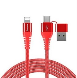 Кабель Baseus 3-in-1 And Dual Output  USB Cable For IP , Красный (CA3IN1-09) - фото 10392