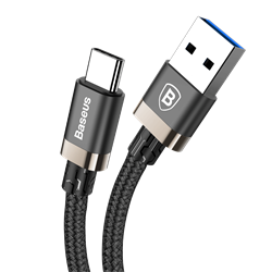 Кабель Baseus Golden Belt Series USB3.0 Cable For Type-C, 1,5м, Золотой+черный (CATGB-A1V) - фото 10416