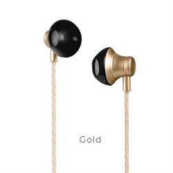 Универсальные наушники с микрофоном Hoco M18 Gesi Metallic (Золото) - фото 11117