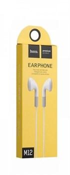 Универсальные наушники с микрофоном Hoco M12 Flat ear (Белое) - фото 11127
