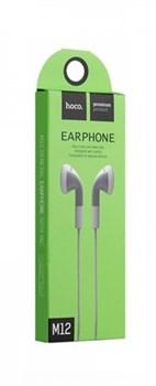 Универсальные наушники с микрофоном Hoco M12 Flat ear (Серые) - фото 11128