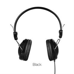 Проводные наушники на оголовке с микрофоном Hoco W5 Manno  (Черный) - фото 11155