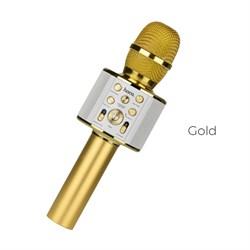 Bluetooth караоке микрофон Hoco BK3 Cool sound (Золото) - фото 11244