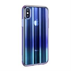 Чехол Baseus Aurora Case For iP XS Max (2018) Transparent Blue (WIAPIPH65-JG03) - фото 12973