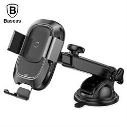 Автомобильный держатель с функцией беспроводной зарядки Baseus Smart Vehicle Bracket Wireless Charger(Sucker style)Black (WXZN-B01) - фото 14086