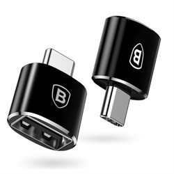 Переходник Baseus USB Female To Type-C Male Adapter Converter Black (CATOTG-01) - фото 15903