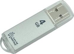 Флеш-накопитель USB  4GB  Smart Buy  V-Cut  серебро - фото 9426