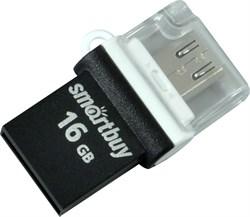 Флеш-накопитель USB  16GB  Smart Buy  Poko  OTG  чёрный - фото 9479