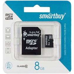 Карта памяти MicroSD  8GB  Smart Buy Class 10 + SD адаптер - фото 9687