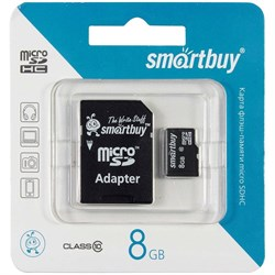 Карта памяти MicroSD  8GB  Smart Buy Class 10 + SD адаптер  COMPACT - фото 9688
