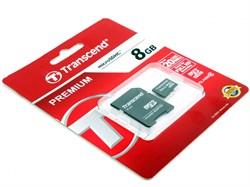 Карта памяти MicroSD  8GB  Transcend Class 10  UHS-I (300x) + SD адаптер - фото 9692
