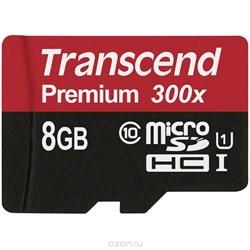 Карта памяти MicroSD  8GB  Transcend Class 10  UHS-I (300x) без адаптера - фото 9693