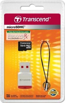 Карта памяти MicroSD  8GB  Transcend Class 10 +  USB Reader - фото 9695