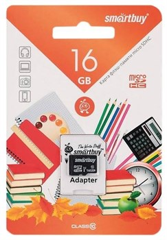 Карта памяти MicroSD  16GB  Smart Buy Class 10  Back-to-School + SD адаптер - фото 9702