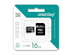 Карта памяти MicroSD  16GB  Smart Buy Class 10 + SD адаптер - фото 9703
