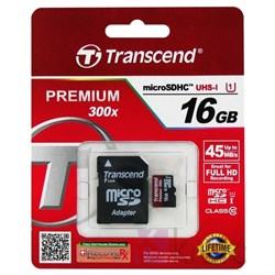 Карта памяти MicroSD  16GB  Transcend Class 10 UHS-I (300x) + SD адаптер - фото 9705