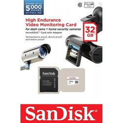 Карта памяти MicroSD  32GB  SanDisk Class 10 High Endurance Video Monitoring + SD адаптер - фото 9715