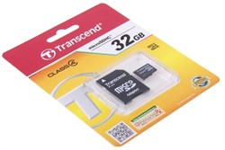 Карта памяти MicroSD  32GB  Transcend Class  4 + SD адаптер - фото 9724