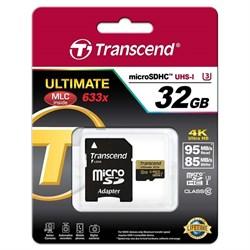 Карта памяти MicroSD  32GB  Transcend Class 10  Ultimate UHS-I U3 (R/W 90/85 Mb/s) + SD адаптер - фото 9727