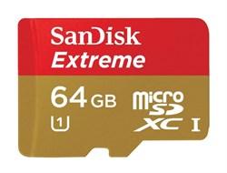 Карта памяти MicroSD  64GB  SanDisk Class 10 Extreme (60/100 Mb/s) без адаптера - фото 9732