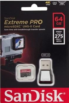 Карта памяти MicroSD  64GB  SanDisk Class 10 Extreme Pro UHS-II U3 (275 Mb/s) (USB 3.0 Reader) - фото 9734