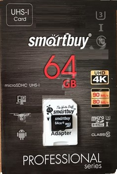 Карта памяти MicroSD  64GB  Smart Buy Сlass 10  Pro UHS-I U3 (80/90 Mb/s) + SD адаптер - фото 9743