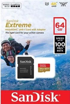 Карта памяти MicroSD  128GB  SanDisk Class 10 Extreme Action Cameras UHS-I  (100 Mb/s) + SD адаптер - фото 9753