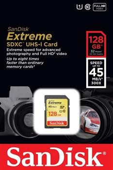 Карта памяти SDXC  128GB  Sandisk Class 10 Extreme (45 Mb/s) - фото 9797