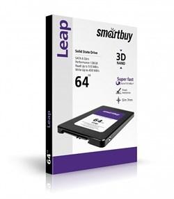 "Твердотельный внутренний диск SSD  Smart Buy   64GB  Leap, SATA-III, R/W - 500/400 MB/s, 2.5"", Marvell 88NV1120, 3D MLC - фото 9900"