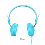 Проводные наушники на оголовке с микрофоном Hoco W5 Manno  (Голубой)