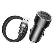 Автомобильное зарядное устройство Baseus Small Screw Dual-USB 3.4A + кабель Lightning (TZXLD-A01)