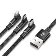 Кабель Baseus MVP 3-in-1 Mobile game Cable USB For M+L+T 3.5A 1.2M (CAMLT-WZ01)