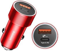 Автомобильное зарядное устройство Baseus Small Screw Type-C PD+USB Quick Charge Car Charger 36W (CAXLD-A09)