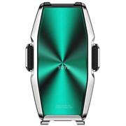 Автомобильный держатель для телефона с беспроводной быстрой зарядкой 15W TOTU Armour Series CACW-033 (Серебристый/Зеленый)