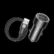 Автомобильное зарядное устройство Baseus Small Screw Dual-USB 3.4A + кабель Type-C (TZXLD-B01)
