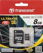 Карта памяти MicroSD  8GB  Transcend Class 10  Ultimate UHS-I (600x) + SD адаптер