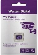 Карта памяти MicroSD  32GB  WD Class 10 Purple Surveillance без адаптера