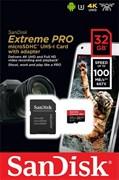 Карта памяти MicroSD  32GB  SanDisk Class 10 Extreme Pro (100 Mb/s) + SD адаптер