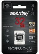 Карта памяти MicroSD  32GB  Smart Buy Сlass 10  Pro UHS-I U3 (80/90 Mb/s)+ SD адаптер