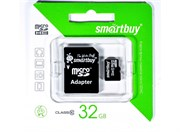 Карта памяти MicroSD  32GB  Smart Buy Сlass 10 + SD адаптер