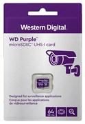 Карта памяти MicroSD  64GB  WD Class 10 Purple Surveillance без адаптера