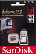 Карта памяти MicroSD  64GB  SanDisk Class 10 Extreme Pro UHS-II U3 (275 Mb/s) (USB 3.0 Reader)