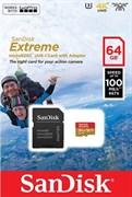 Карта памяти MicroSD 64GB SanDisk Class 10 Extreme UHS-I UHS3 V30 (100Mb/s) + SD адаптер