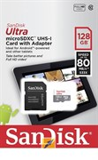 Карта памяти MicroSD  128GB  SanDisk Class 10 Ultra Android UHS-I  (80 Mb/s) + SD адаптер - Tablet Packaging
