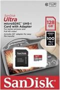 Карта памяти MicroSD  128GB  SanDisk Class 10 Ultra Android UHS-I (100 Mb/s) + SD адаптер