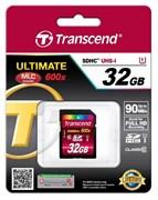 Карта памяти SDHC  32GB  Transcend Class 10 UHS-I