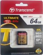 Карта памяти SDXC  64GB  Transcend Class 10 UHS-I U3 (95/60 Mb/s)