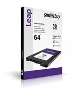 """Твердотельный внутренний диск SSD  Smart Buy   64GB  Leap, SATA-III, R/W - 500/400 MB/s, 2.5"""", Marvell 88NV1120, 3D MLC"""